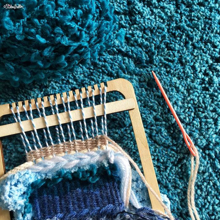 Teal and Shades of Blue Weaving on the Loom - Around Here…August 2016 at www.elistonbutton.com - Eliston Button - That Crafty Kid – Art, Design, Craft & Adventure.
