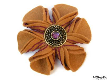 Blackcurrant and Cinnamon Embroidered Felt Flower Brooch by Eliston Button on Etsy - For the Love of…Autumn at www.elistonbutton.com - Eliston Button - That Crafty Kid – Art, Design, Craft & Adventure.