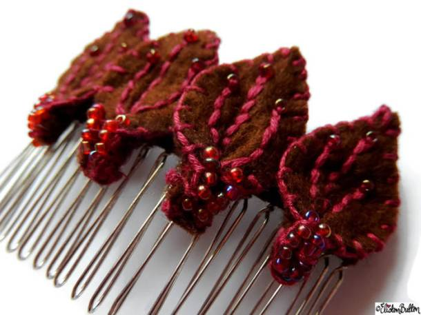 Chocolate and Raspberry Embroidered and Beaded Felt Petal Hair Comb Slide by Eliston Button on Etsy - For the Love of…Autumn at www.elistonbutton.com - Eliston Button - That Crafty Kid – Art, Design, Craft & Adventure.
