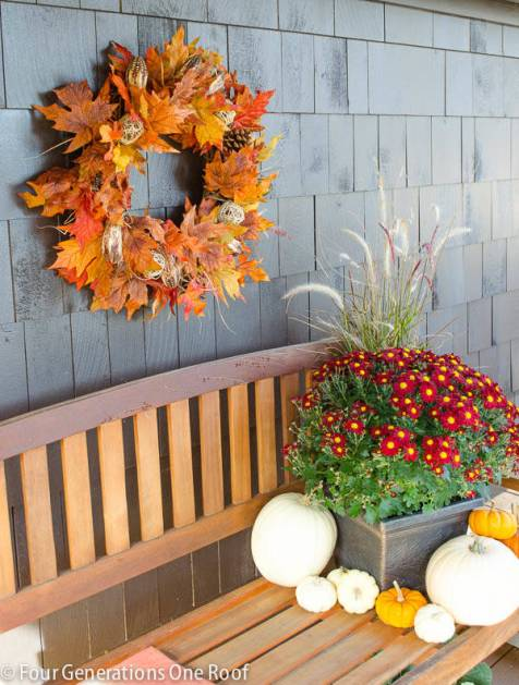 How to Make a Fall Leaf Wreath by Four Generations Under One Roof - Shared on For the Love of…Autumn at www.elistonbutton.com - Eliston Button - That Crafty Kid – Art, Design, Craft & Adventure.