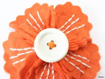 Orange and Crisp White Embroidered Felt Flower Brooch by Eliston Button - For the Love of…Summer at www.elistonbutton.com - Eliston Button - That Crafty Kid – Art, Design, Craft & Adventure.