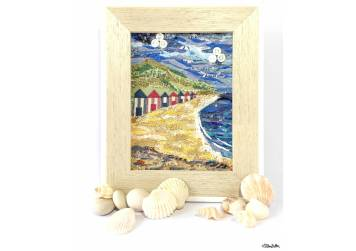 Original 'Beach Huts by the Sea' Original Seaside Fabric Collage by Eliston Button with Shells and Pebbles - For the Love of…Summer at www.elistonbutton.com - Eliston Button - That Crafty Kid – Art, Design, Craft & Adventure.