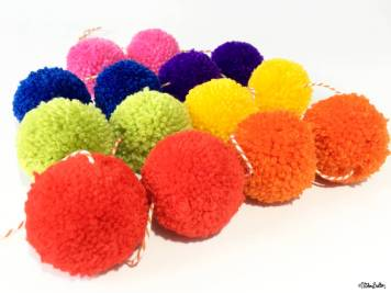 Rainbow Pom Pom Garland by Eliston Button- For the Love of…Summer at www.elistonbutton.com - Eliston Button - That Crafty Kid – Art, Design, Craft & Adventure.