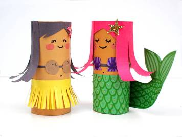 Toilet Roll Crafts - Mermaid and Hula Girl by Molly Moo Crafts Blog - For the Love of…Summer at www.elistonbutton.com - Eliston Button - That Crafty Kid – Art, Design, Craft & Adventure.