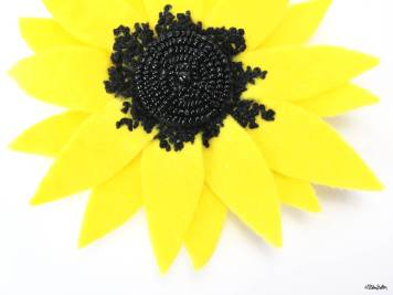Yellow Sunflower Embroidered Felt Flower Brooch with French Knot and Bead Detail by Eliston Button - For the Love of…Summer at www.elistonbutton.com - Eliston Button - That Crafty Kid – Art, Design, Craft & Adventure.