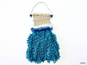 Create 30 - No. 20 - Mini Beach Woven Wall Hangings with Teal Seaweed Tassels by Eliston Button - Create 30 – I Did It! (And Future Plans) at www.elistonbutton.com - Eliston Button - That Crafty Kid – Art, Design, Craft & Adventure.