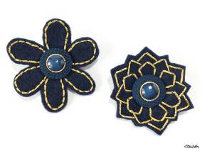 Create 30 - No. 6 - Embroidered Felt Lapel Pins - Navy Blue and Gold - Set of 2 - Create 30 – I Did It! (And Future Plans) at www.elistonbutton.com - Eliston Button - That Crafty Kid – Art, Design, Craft & Adventure.