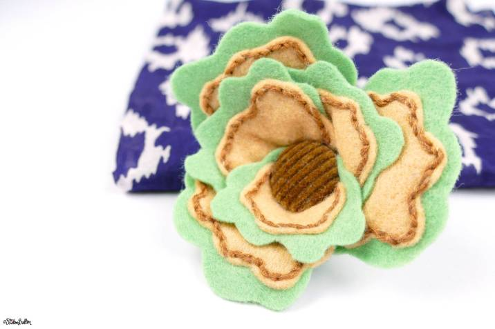 Sage and Onion (Brown Button) Embroidered Felt Flower Brooch by Eliston Button on Etsy - Eliston Button Etsy Shop Refresh at www.elistonbutton.com - Eliston Button - That Crafty Kid – Art, Design, Craft & Adventure.