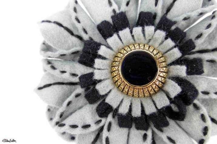 Slate Grey, Balck and Gold Art Deco Inspired Embroidered Felt Flower Brooch by Eliston Button on Etsy - Eliston Button Etsy Shop Refresh at www.elistonbutton.com - Eliston Button - That Crafty Kid – Art, Design, Craft & Adventure.