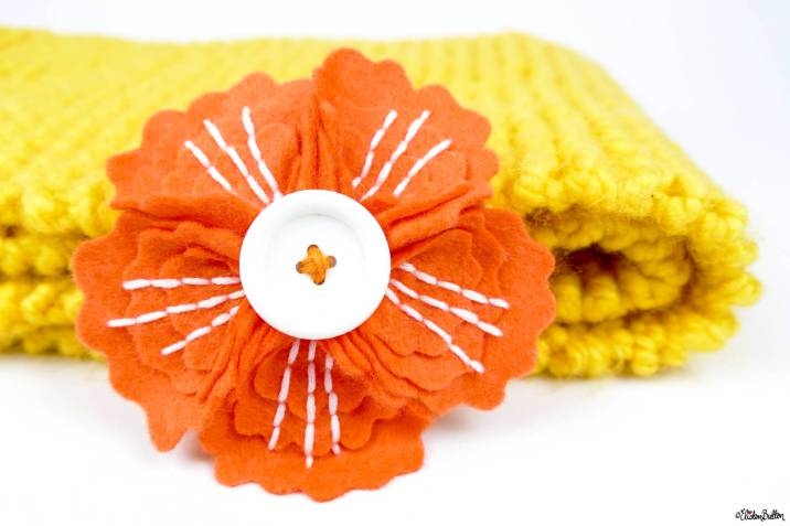 Tangerine Orange and Crisp White Embroidered Felt Flower Brooch by Eliston Button on Etsy - Eliston Button Etsy Shop Refresh at www.elistonbutton.com - Eliston Button - That Crafty Kid – Art, Design, Craft & Adventure.
