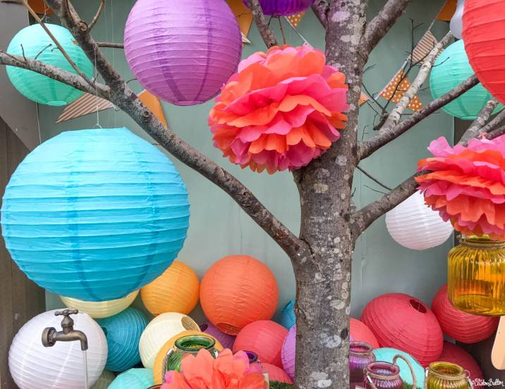 Webbs of Whychbold Rainbow Coloured Paper Pom Pom and Lantern Summer 2017 Display - Around Here...I'm Back! at www.elistonbutton.com - Eliston Button - That Crafty Kid – Art, Design, Craft & Adventure.