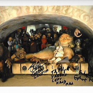 Jabba's Throne Room signed by Andy Cunningham, Toby Philpott & Jez Harris 10x8