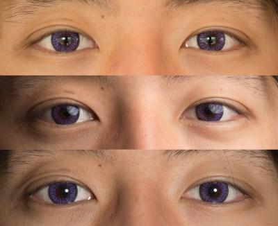 Purple contacts dark eyes