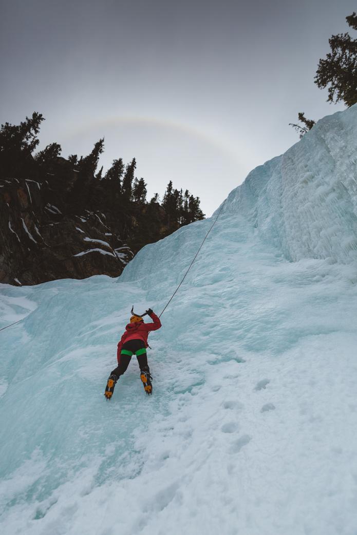 Ice climbing Jasper edge of the world