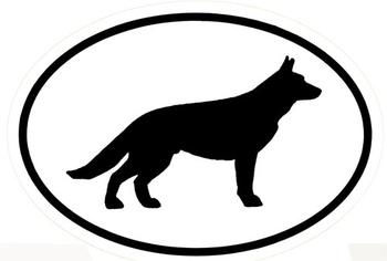 Black and White German Shepherd Silhouette Vinyl Decal