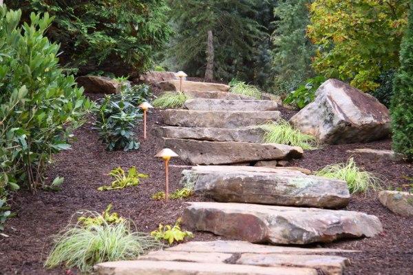 hardscape stone steps boulders