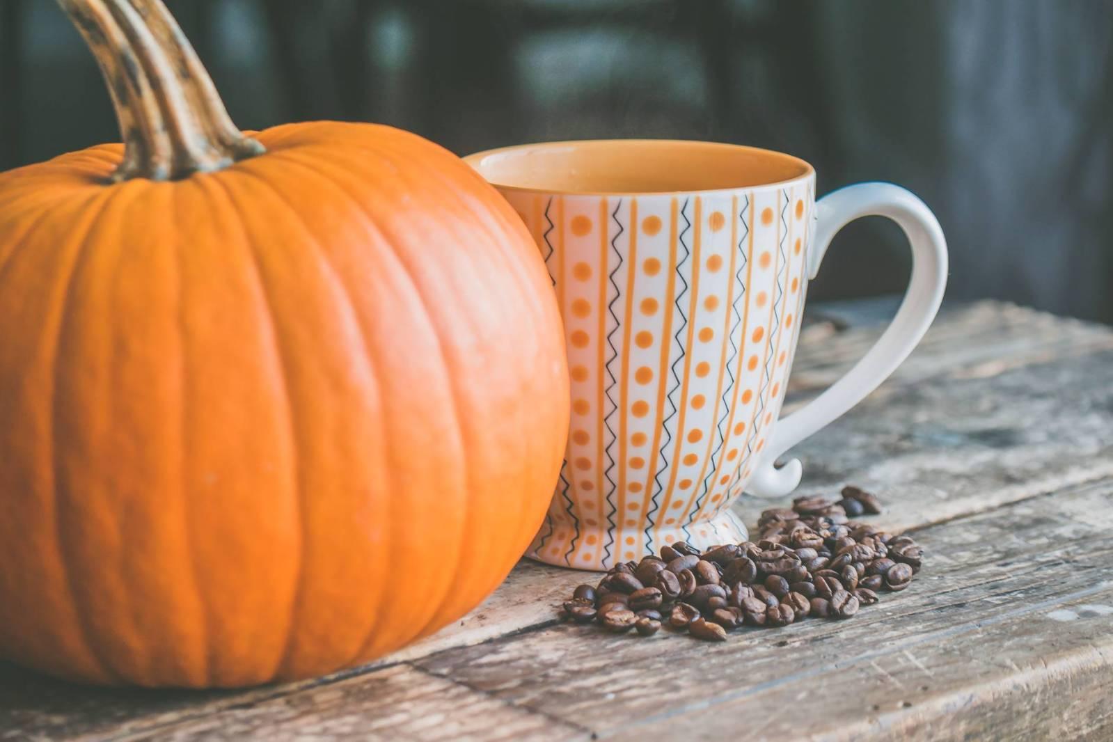 orange pumpkin near white ceramic mug with seeds