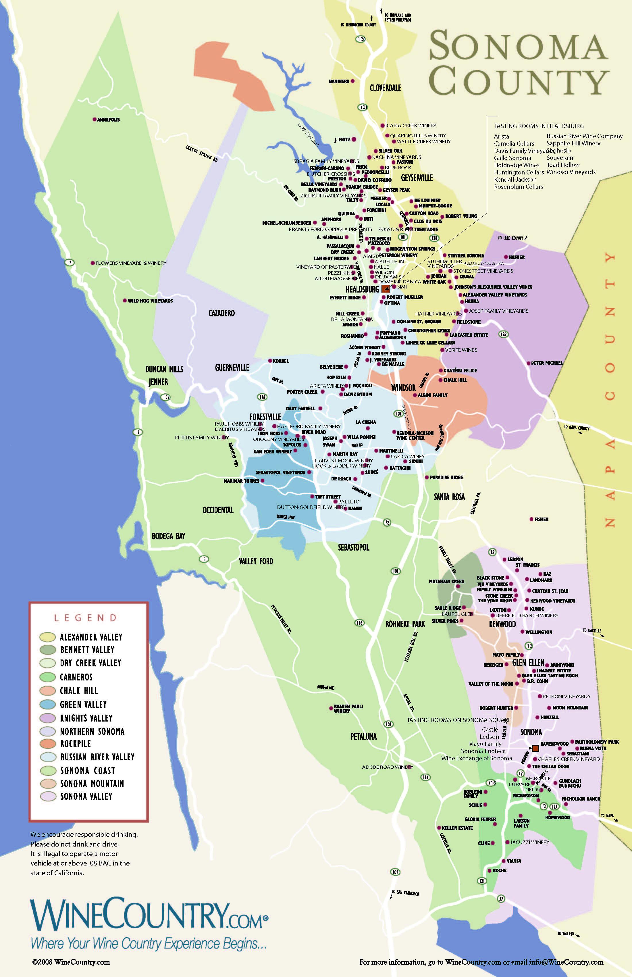 Anderson Napa Valley Wine Map - Napa valley vineyard map