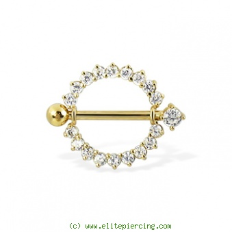 14K Real Yellow Gold Gemmed Nipple Ring With Jeweled
