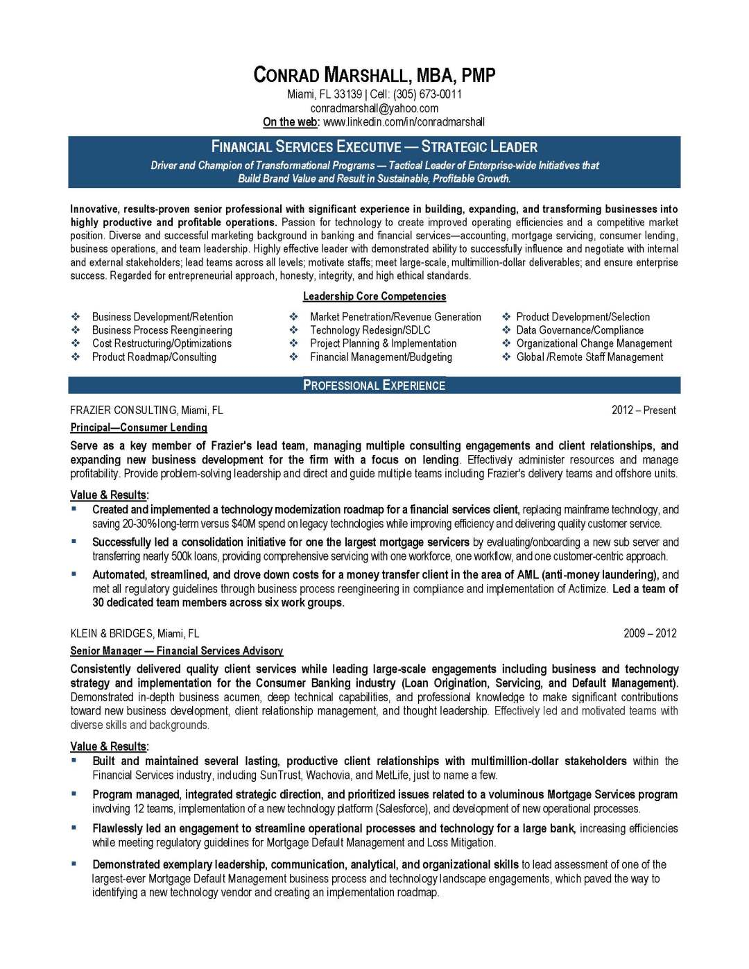 finance resume sample, provided by Elite Resume Writing Services