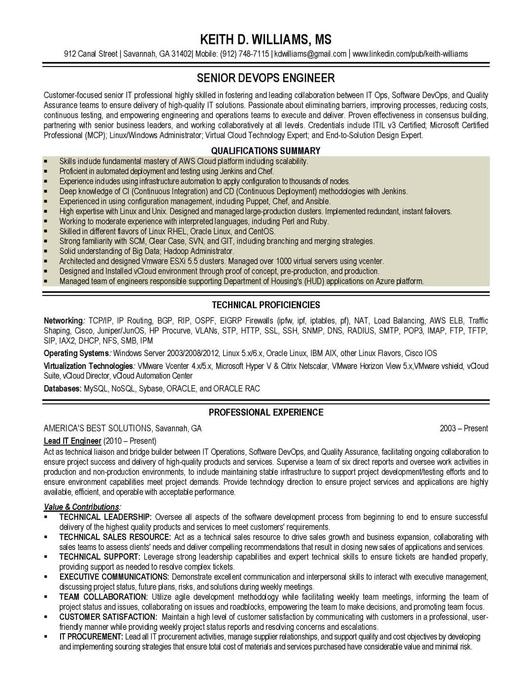 IT resume sample 2, provided by Elite Resume Writing Services