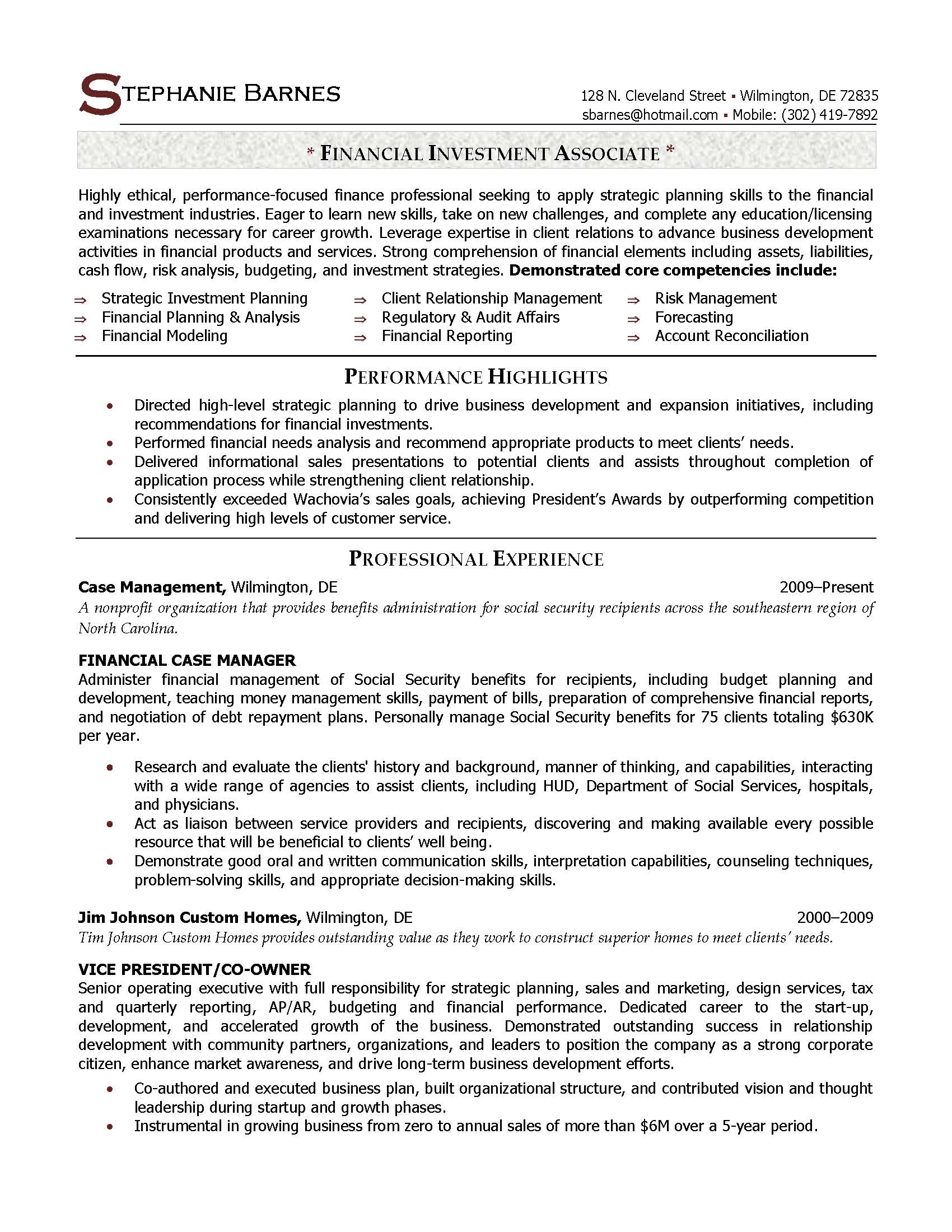 financial investment associate resume sample provided by elite resume writing services