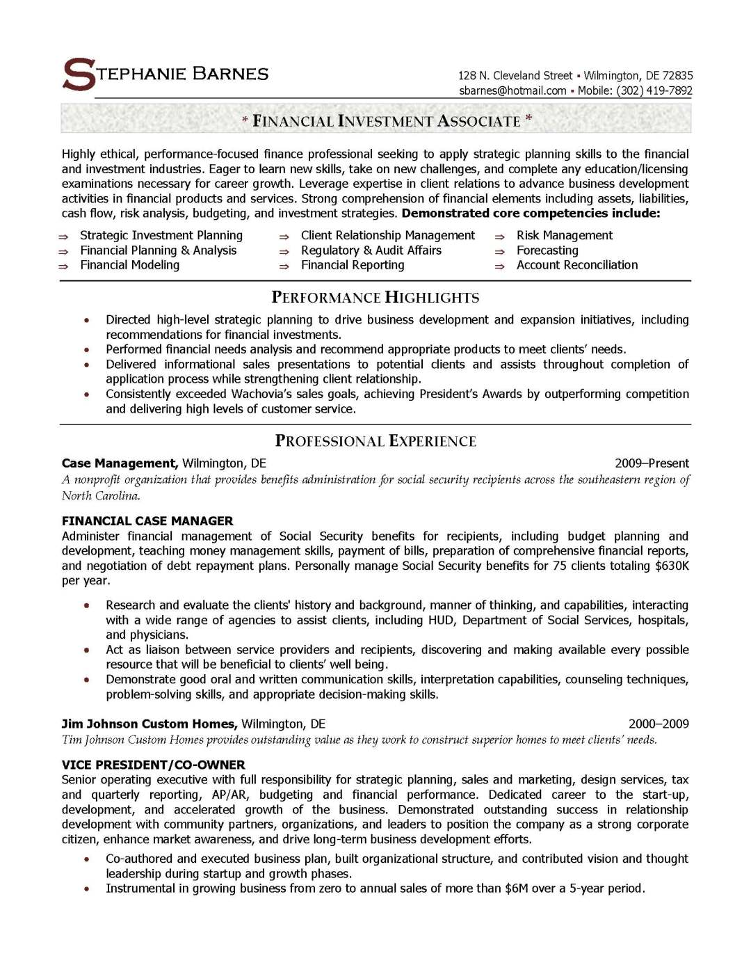 financial investment associate resume sample, provided by Elite Resume Writing Services
