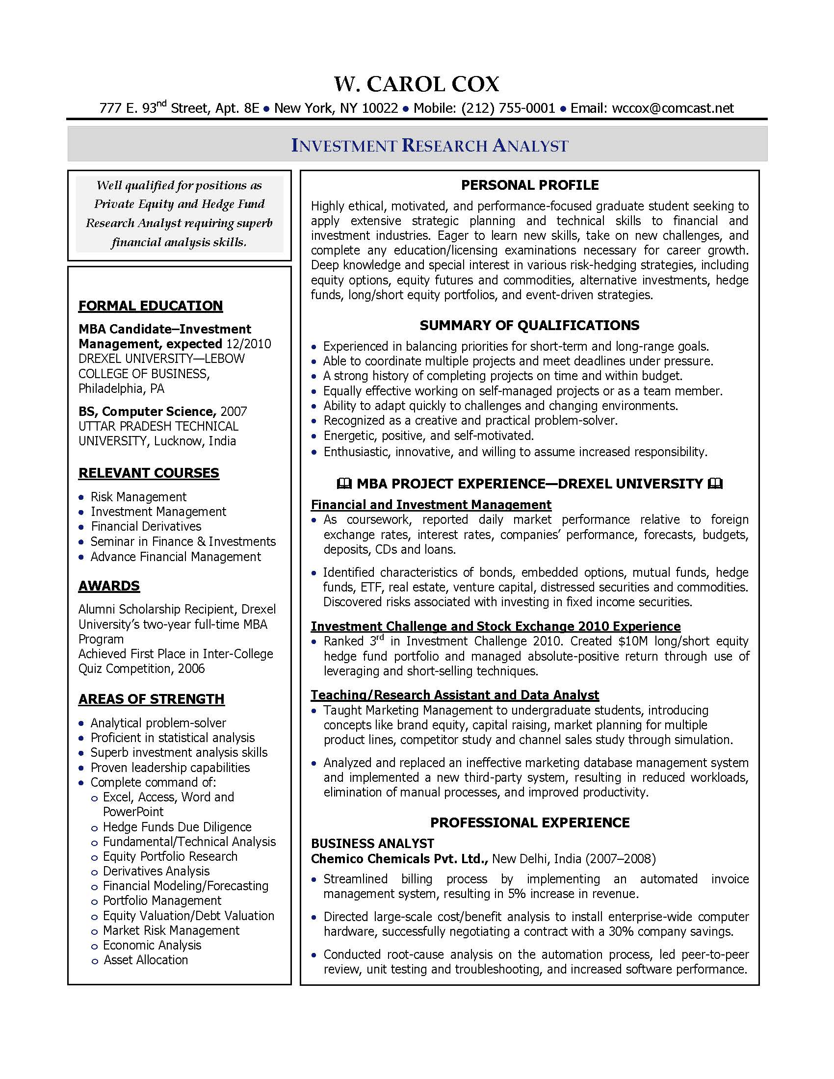 Investment Research Analyst Resume Sample, Provided By Elite Resume Writing  Services