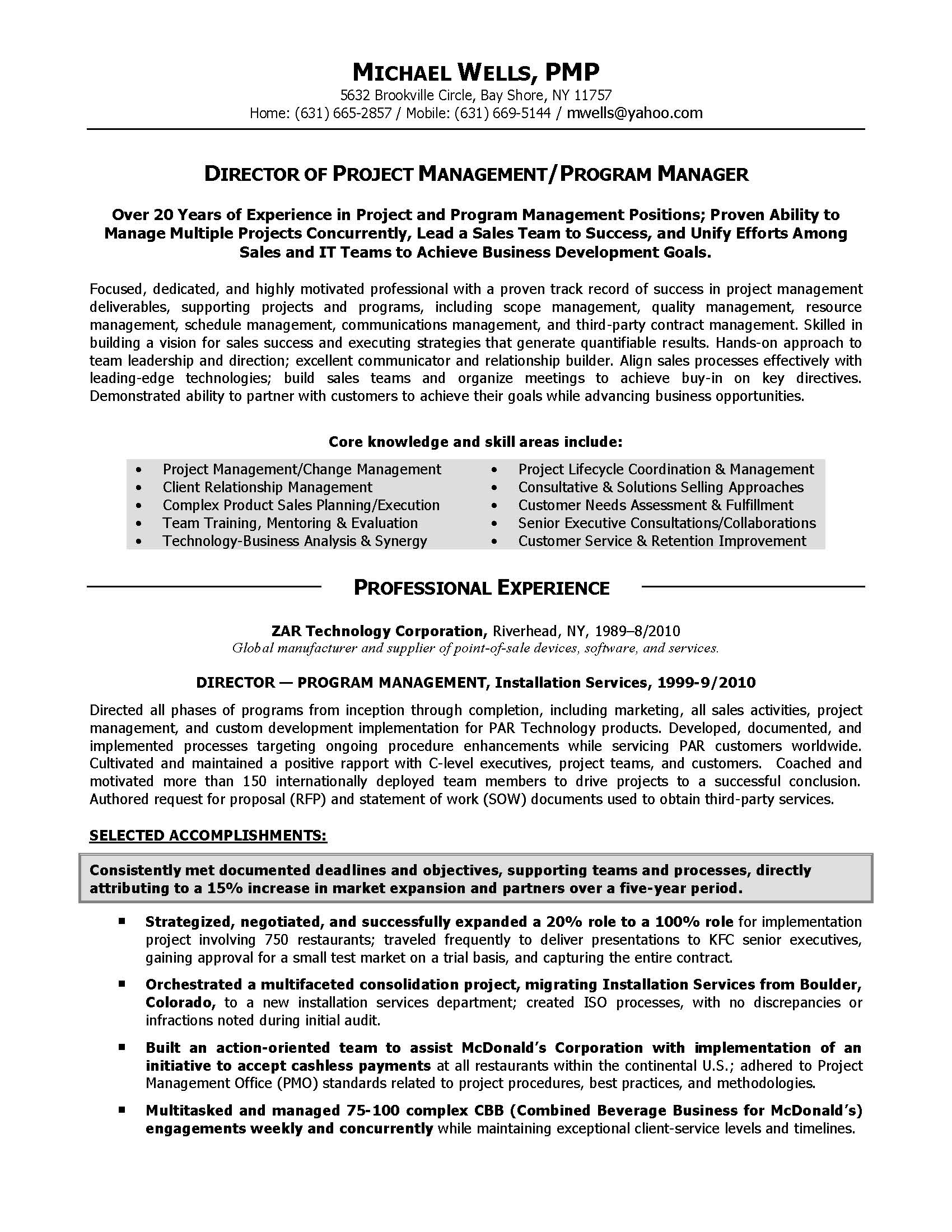 project manager description for resumes
