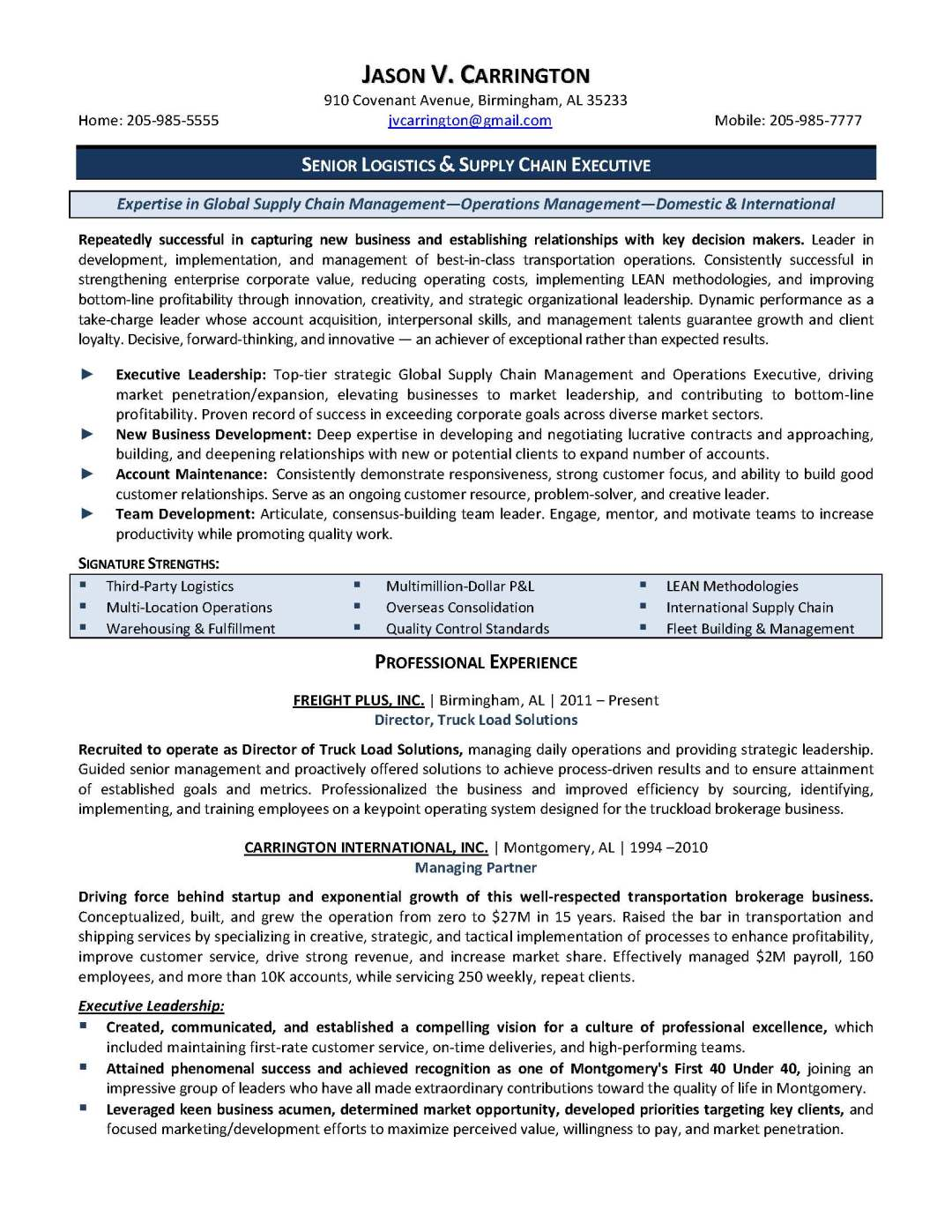 senior logistics and supply chain executive resume sample, provided by Elite Resume Writing Services