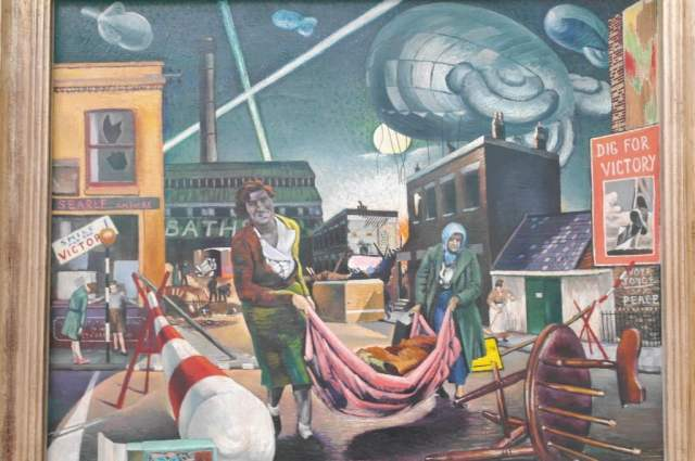 Bombed Woman and Searchlights (1940) - Clive Branson