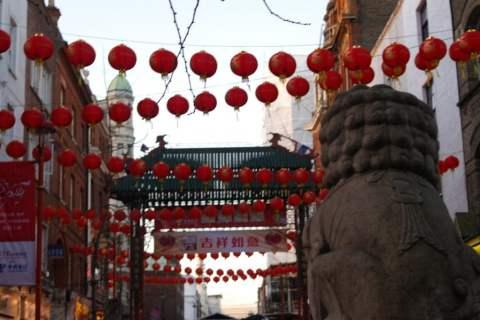 Lanterns and dragon, Chinese New Year, Chinatown, London