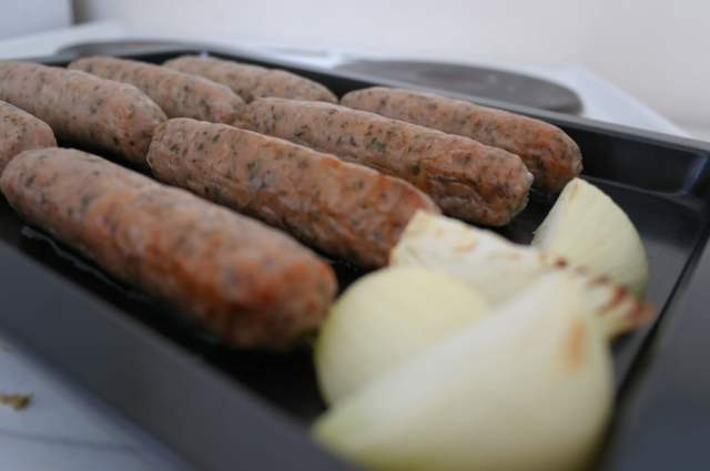 Lincolnshire Sausages and Onion