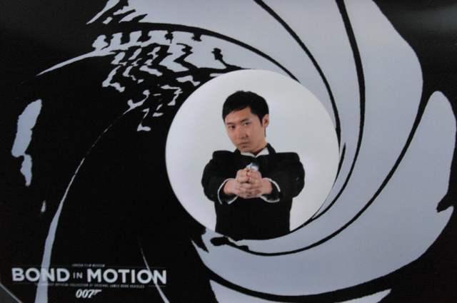 Me striking a James Bond pose at Bond in Motion