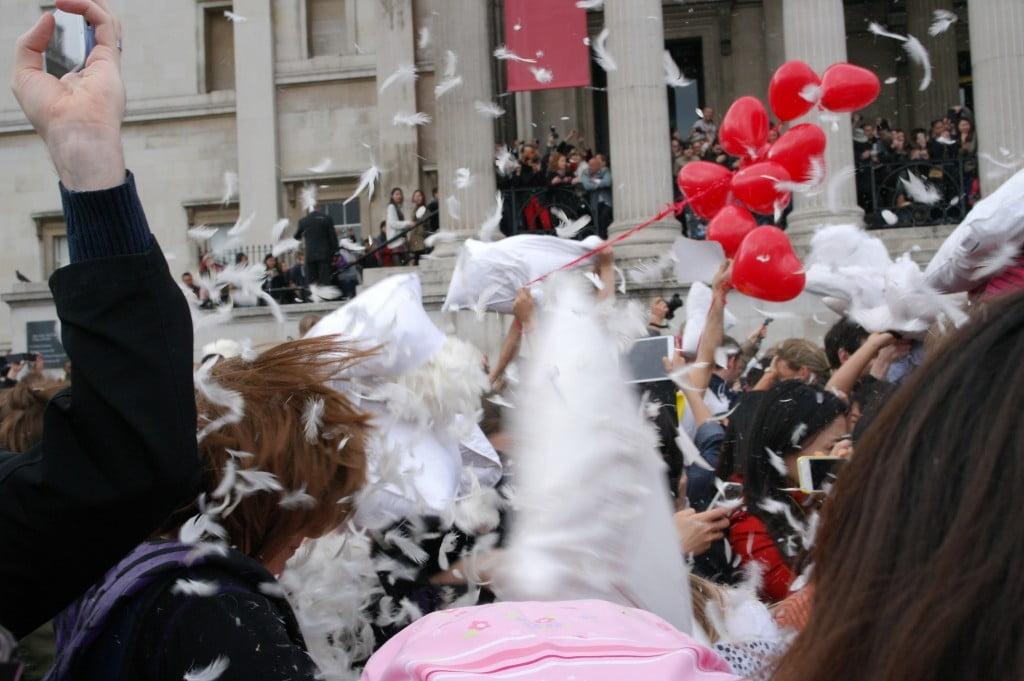 World Pillow Fight Day, Trafalgar Square, London