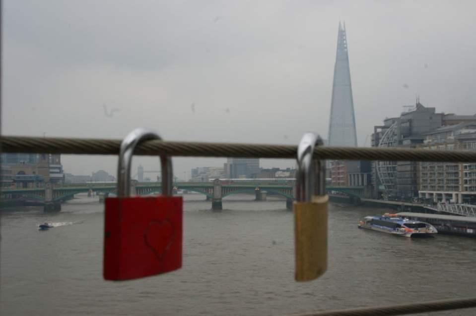 Love locks on Millennium Bridge, London