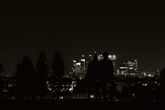 Silhouettes, Greenwich Park - hilltop view