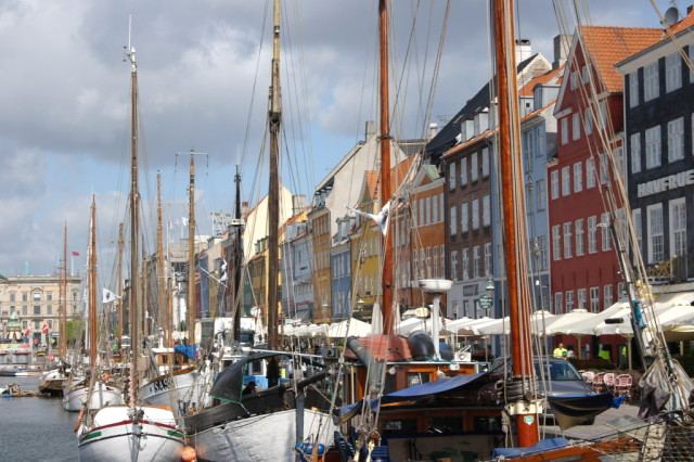 Boats and colourful buildings at Nyhavn, Copenhagen