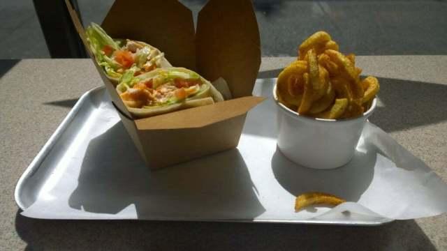 Fat Burger Buffalo Chicken Wrap & Cajun Fries, Camden Town, London