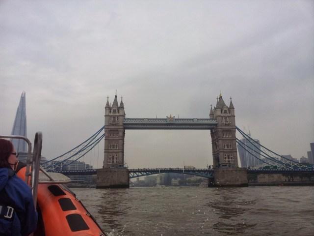 Speed boat Tower Bridge Thames London