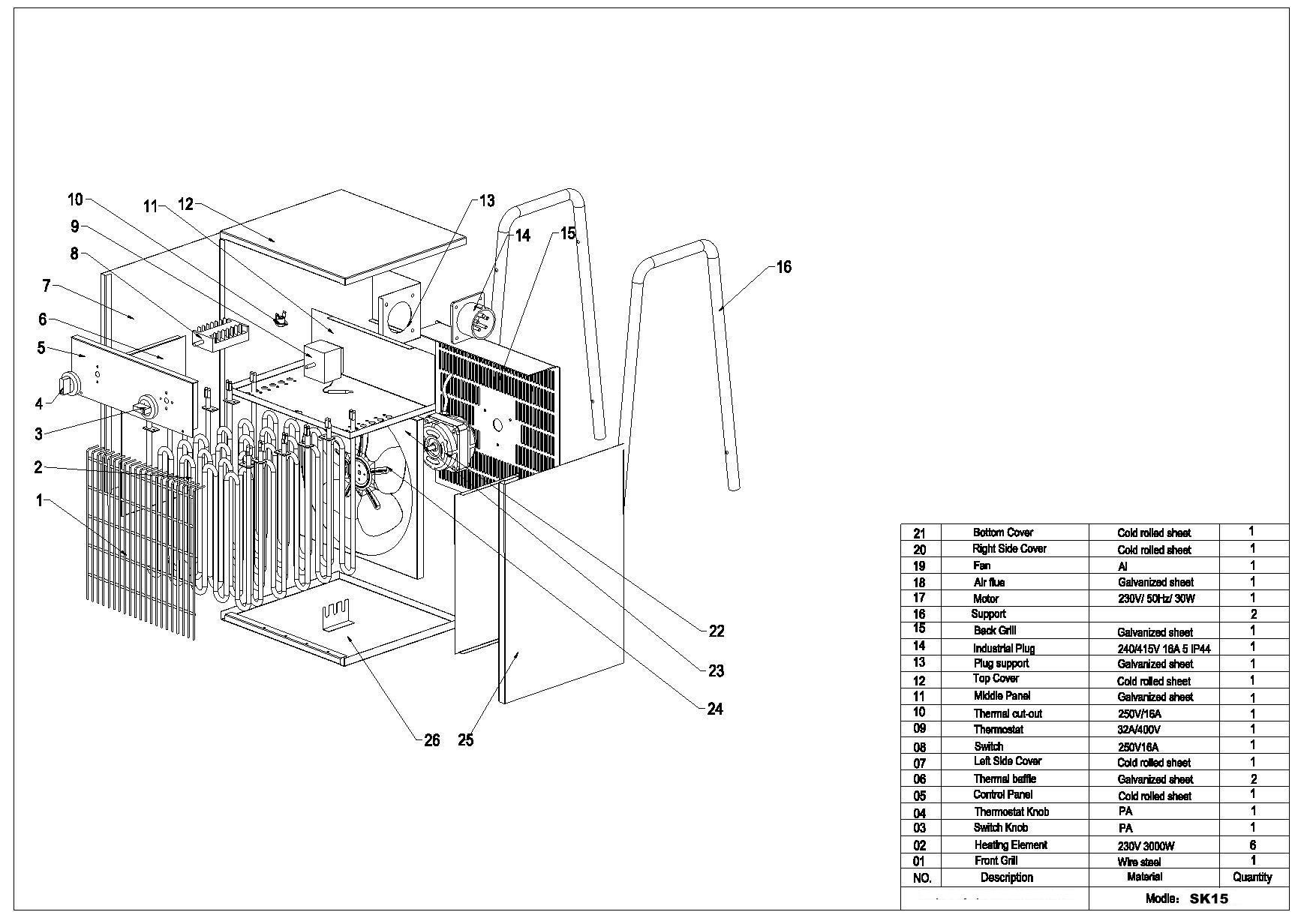 Turbo calefactor SK15 electrica 380V 15KW (espacio cerrado