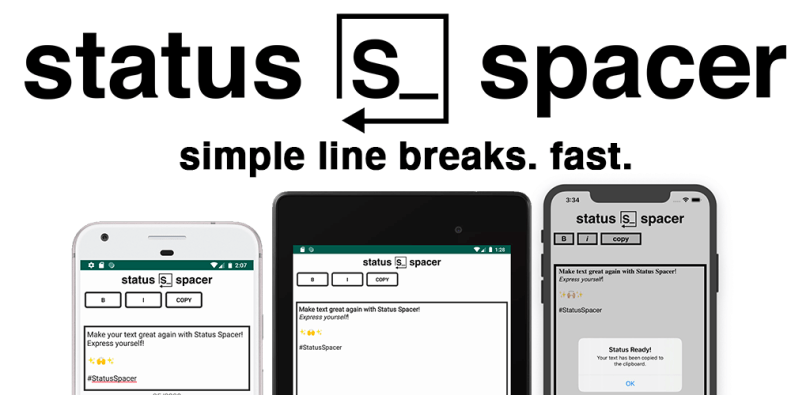STATUS SPACER SIMPLE LINE BREAKS FAST