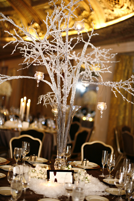The Winterinspired Decor Included Crystal Branch Centerpieces And Faux Snow