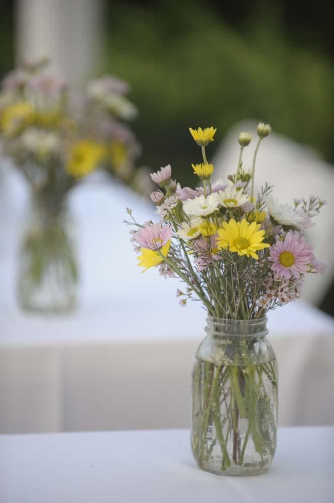 Wildflower Centerpieces In Mason Jars