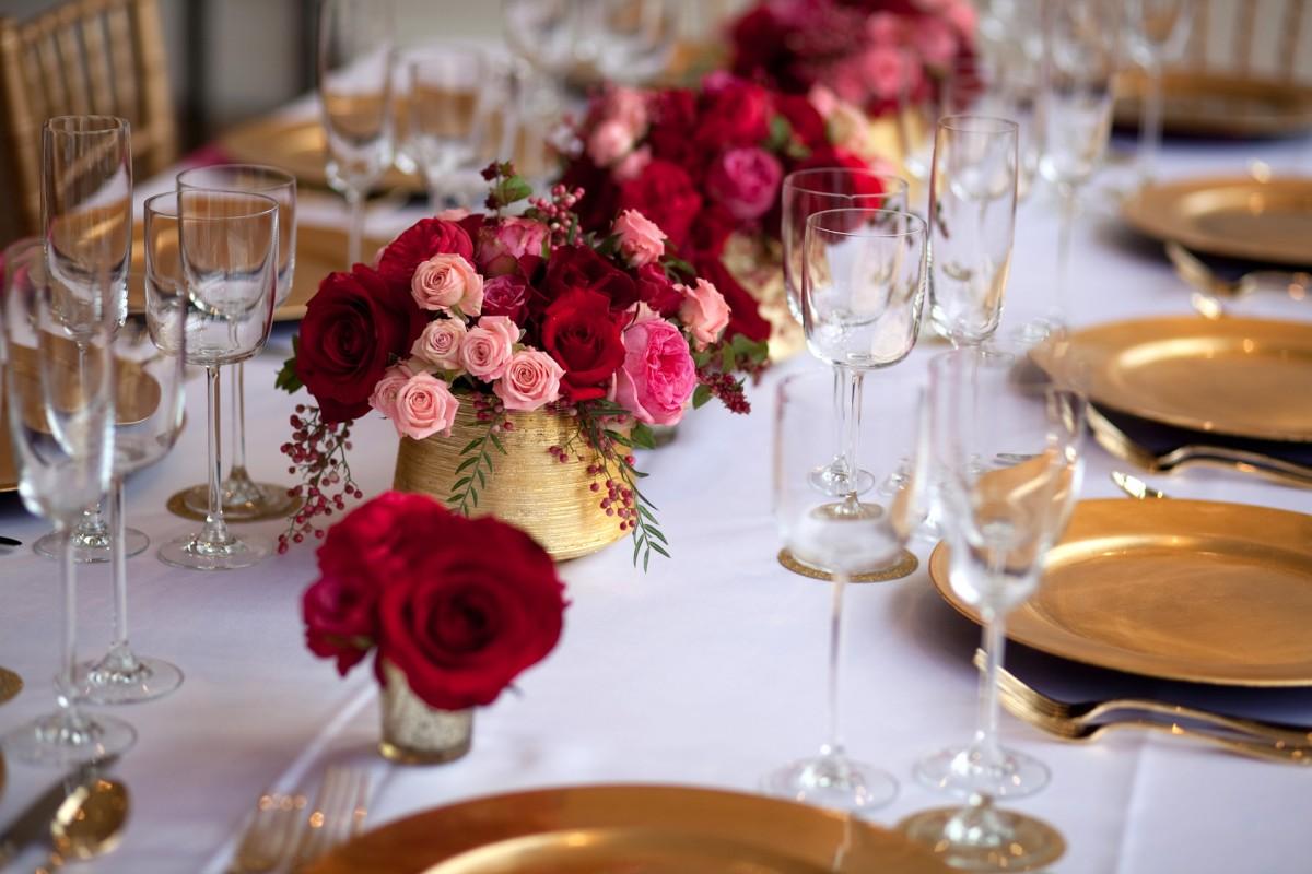 Pink Red  Gold Tabletop  Elizabeth Anne Designs The Wedding Blog