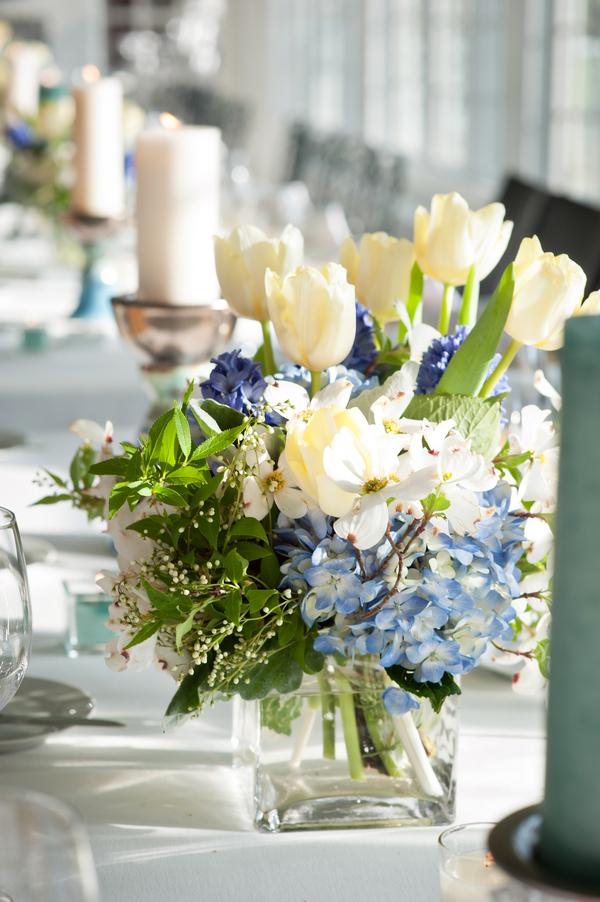 Blue Hydrangea White Tulip Centerpiece Elizabeth Anne