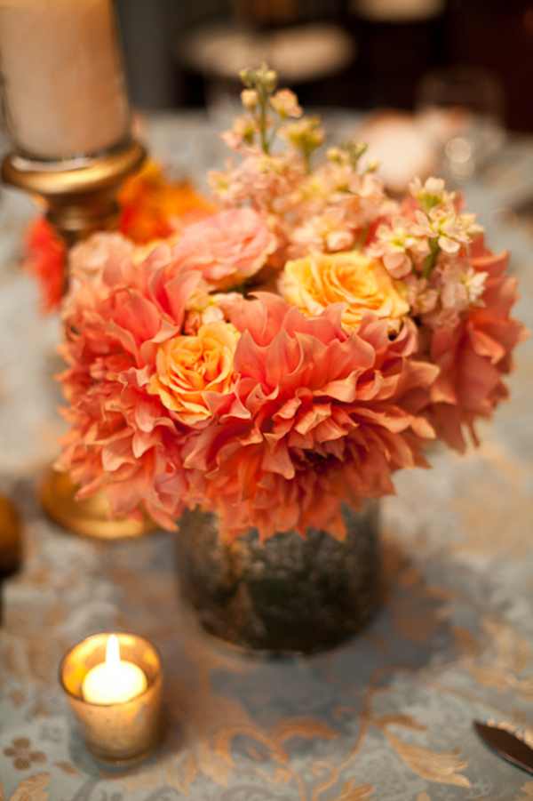 Peach Dahlia Centerpiece Elizabeth Anne Designs The