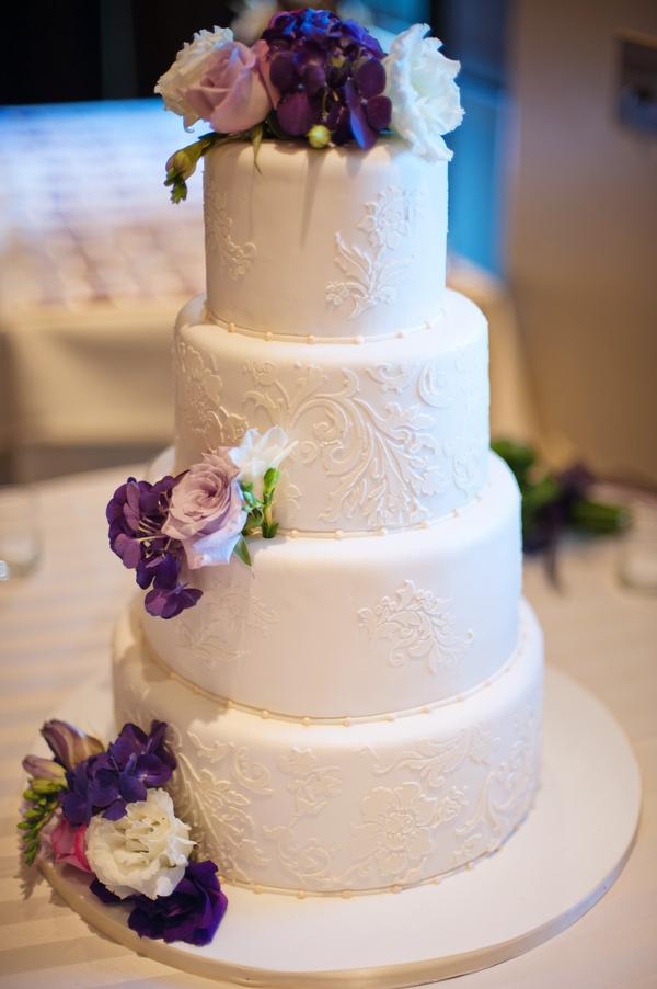 Elegant White Wedding Cake With Purple Flowers Elizabeth Anne Designs The Wedding Blog