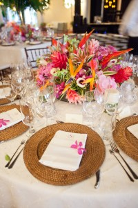 Bold Tropical Floral Reception Table Centerpiece ...