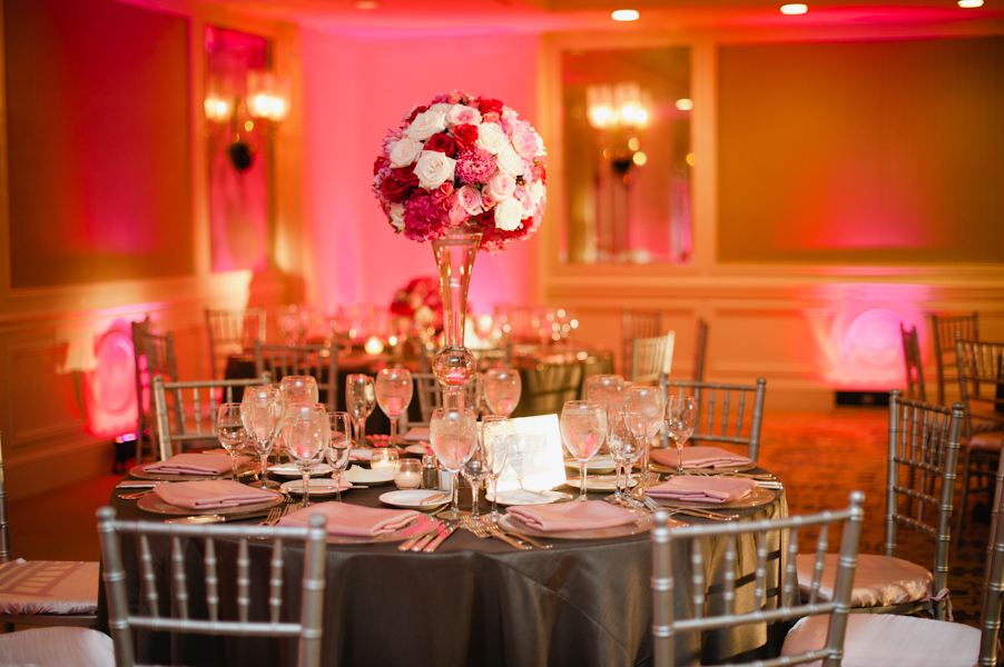Pink and White Reception Centerpiece With Silver and Gray